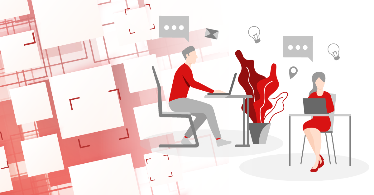 Host desking graphic of two people working in a shared workspace
